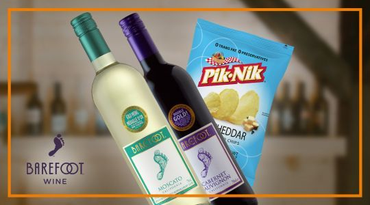 Buy 2 Gallo Barefoot Wines with 1 free pack of Pik-Nik White Cheddar